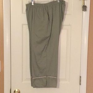 Capris, green with added design along the bottom.